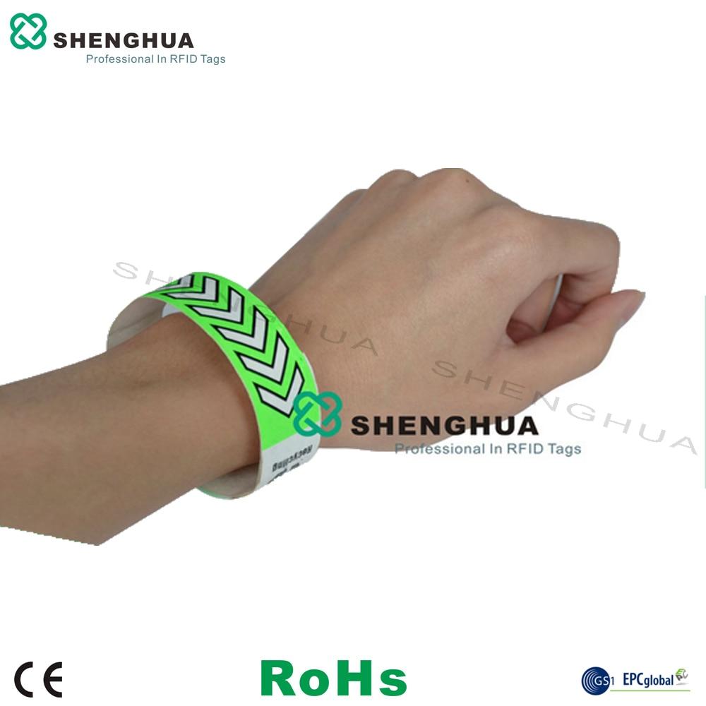 200pcs/box Contactless Patient Identification RFID Tyvek Bracelet Wristband UHF Passive Waterproof Green Blank Label Sticker