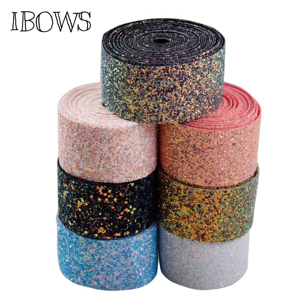 1 ярд 2 »50 мм Chic Коренастый Блеск ленты Blingbling ткани ленты DIY банты на голову Материал Швейные аксессуары ручной работы ремесла