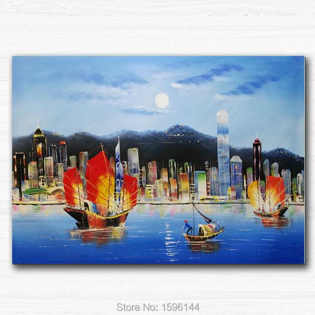 Home Design Ideas Hong Kong: Hongkong Victoria Scenery Oil Painting Canvas Hand Painted