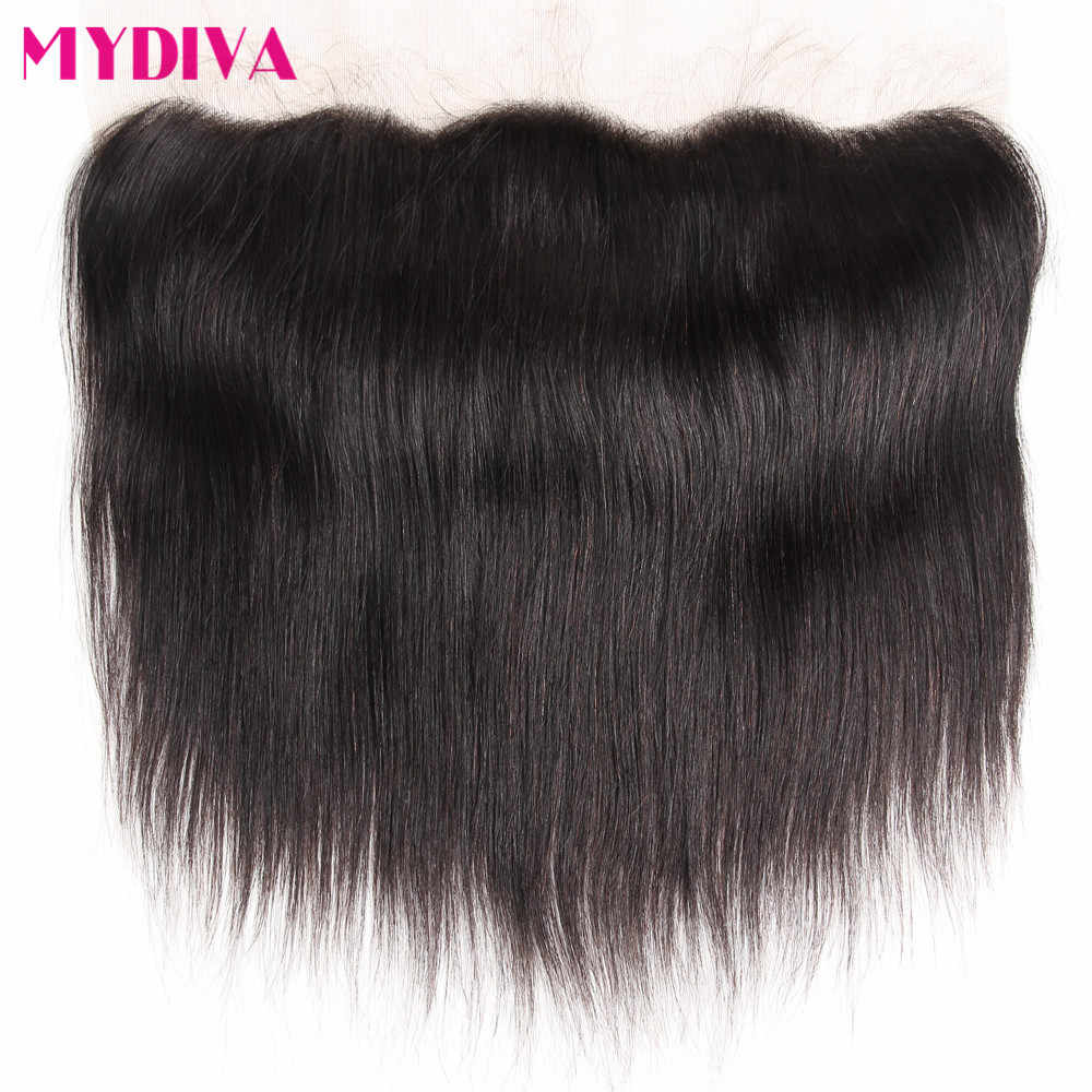 Mydiva Pre-plucked Lace Frontal Closure With Baby Hair One Bundle Brazilian Straight Human Hair closures 8-18inch Remy