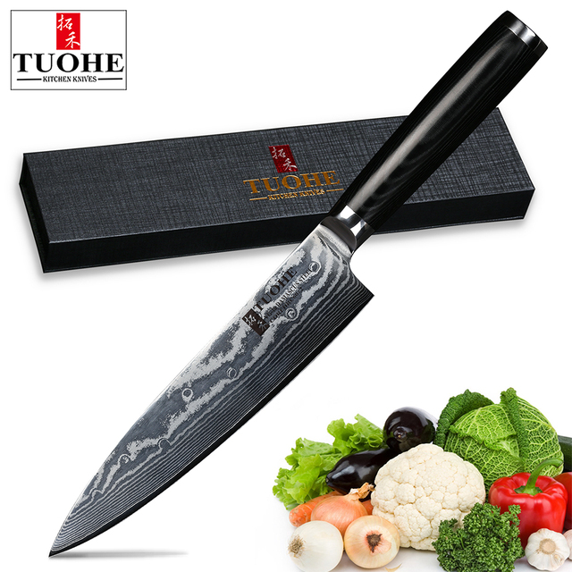 TUOHE 8inch Damascus Kitchen Knives Knife High Quality VG10 Japanese Steel Chef