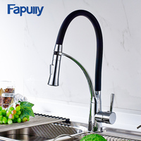 Fapully Kitchen Faucet Pull Out Black Chrome Finish Dual Sprayer Nozzle Cold Hot Water Mixer Faucet