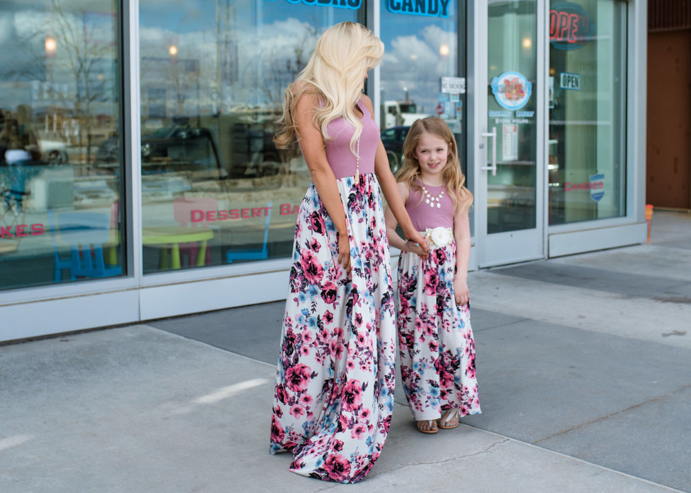 HTB1dcAlhtcnBKNjSZR0q6AFqFXaE - NASHAKAITE Mother daughter dresses Floral Printed Long Dress Mommy and me clothes Family matching clothes Mom and daughter dress