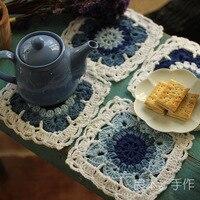 Ücretsiz Kargo Toptan Retro Squar Kordat Tığ desen Doily el yapımı Tığ Fincan mat