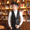 Syi paillette vest dj male vest costume male slim men's clothing  dress