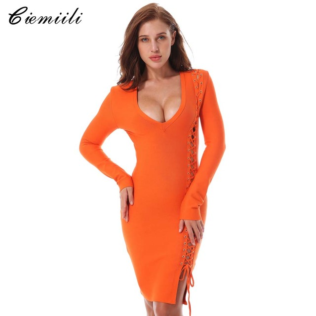 7421e2c3ac86 CIEMIILI 2018 New Sexy Women Summer Bandage Dress Evening Party Orange  Black V-neck Long Sleeve Celebrity Bodycon Runway Dress