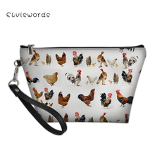 ELVISWORDS Cute Animals Printing Makeup Bag for Women Portable Travel Organizer Storage Pouch Toiletry Wash Beauty Kit