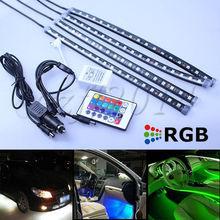 4x30cm LED RGB auto interior light knight rider scanner foot light with remote controller free shipping