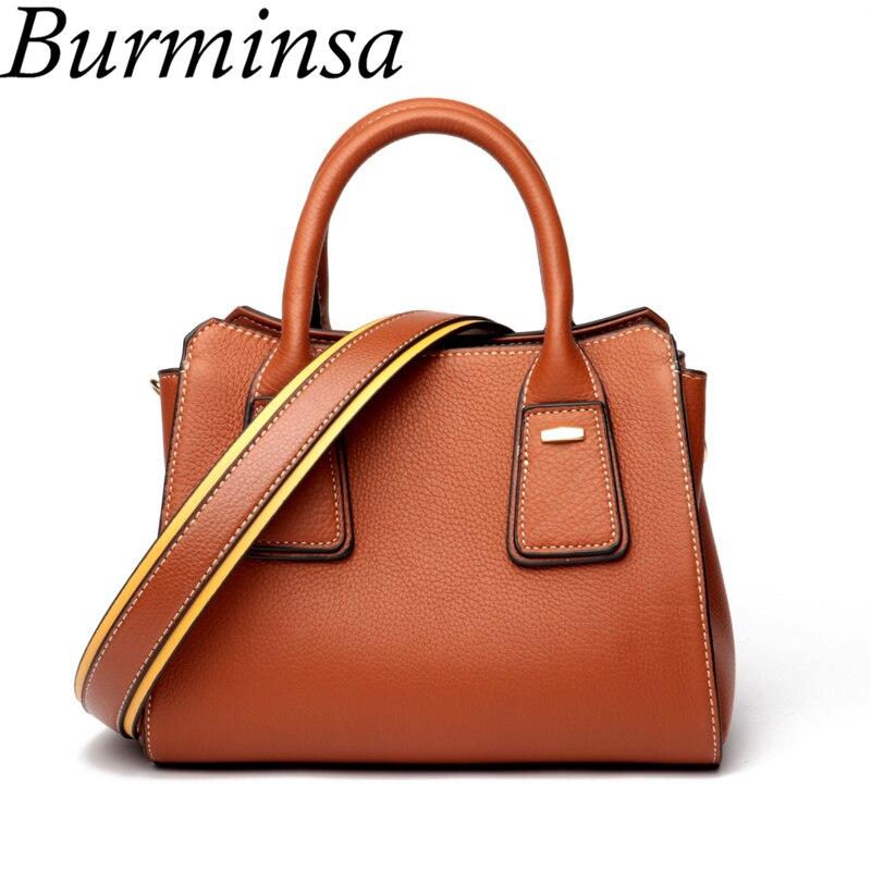 Burminsa Cute Small Genuine Leather Bags Women Wide Strap Purse European Ladies Shoulder Messenger Bags 2018