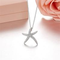 Famous Brand Design Big Starfish Charm Pendant Necklace 925 Sterling Silver Fashion Women's jewelry collares largos de moda 2018