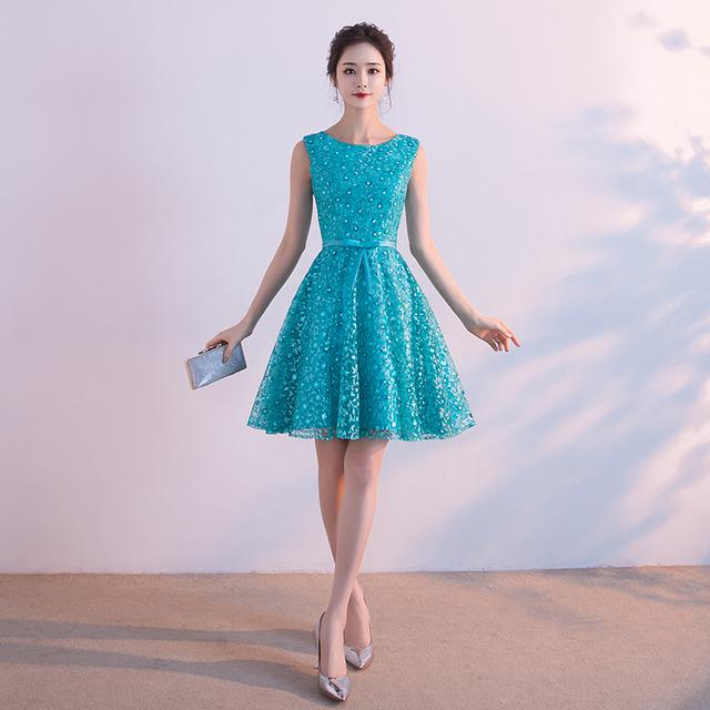 PotN'Patio Turquoise Blue Short Homecoming Dresses Summar Sleeveless Lace Junior Dresses