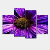 תמונות ציור שמן מודפס קישוט בית אמנות קיר 4 פנל HD הדפסי בד גדול סגול דייזי פרח סלון