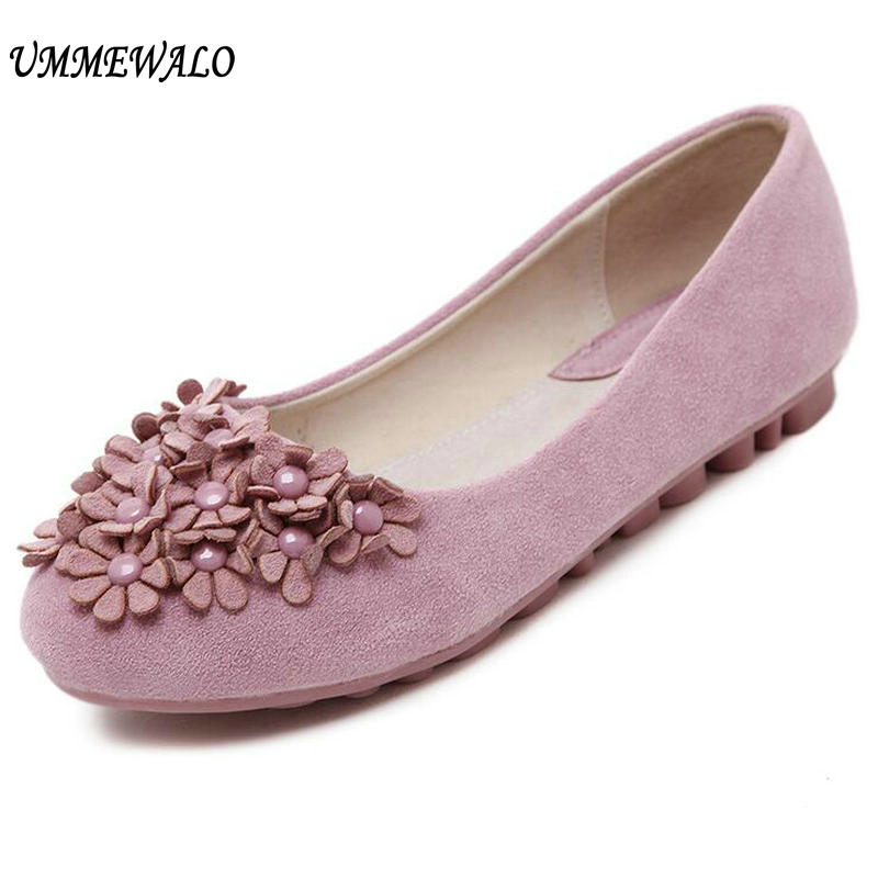 UMMEWALO Soft Real   Leather   Flat Shoes Women Slip On Casual Loafer Shoes Ladies Rubber Sole Driving   Suede   Moccasin Casual Loafer