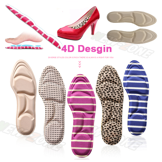 Feet Care 1 Pair Women Arch Support shoes Insole 4D Foam Massge high heel cushion pads Insert relieve pain Size Tailorability
