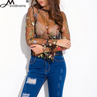 Avodovama M Sexy Lace Top Round Neck Long Sleeve Black Flower Embroidery Shirt See Through Women
