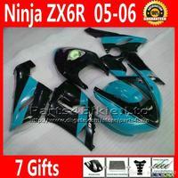 Racing Motorcycle Set For Kawasaki ZX6R Fairing Kits Ninja 05 06 2005 2006 Blue Black Body