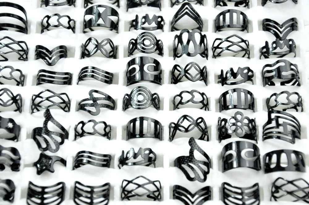 bf129efdf ... 50Pcs Vintage Black Zinc Alloy Gypsy Adjustable Finger Tattoo Rings Toe  Ring Lots For Women Men