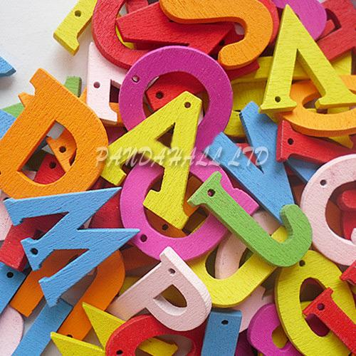 Painted Wooden Letters Pendants, Mixed Color, 23mm