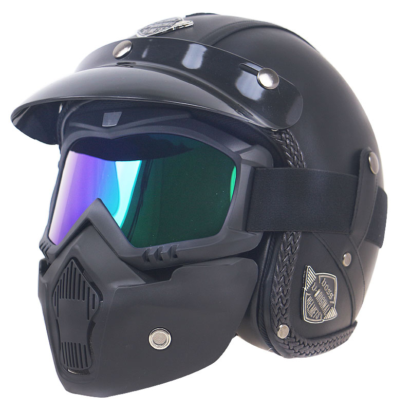 For Harley Motorcycle 3//4 Helmet+Glasses /& Mask Protector Four Seasons M-XL