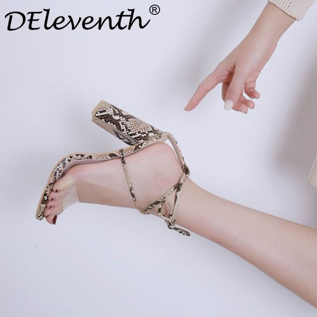 d8a6a0877613a Women's shoes sandals women snake square high heels open toe block heel  sandal shoes high-heeled lace up transparent lady shoes