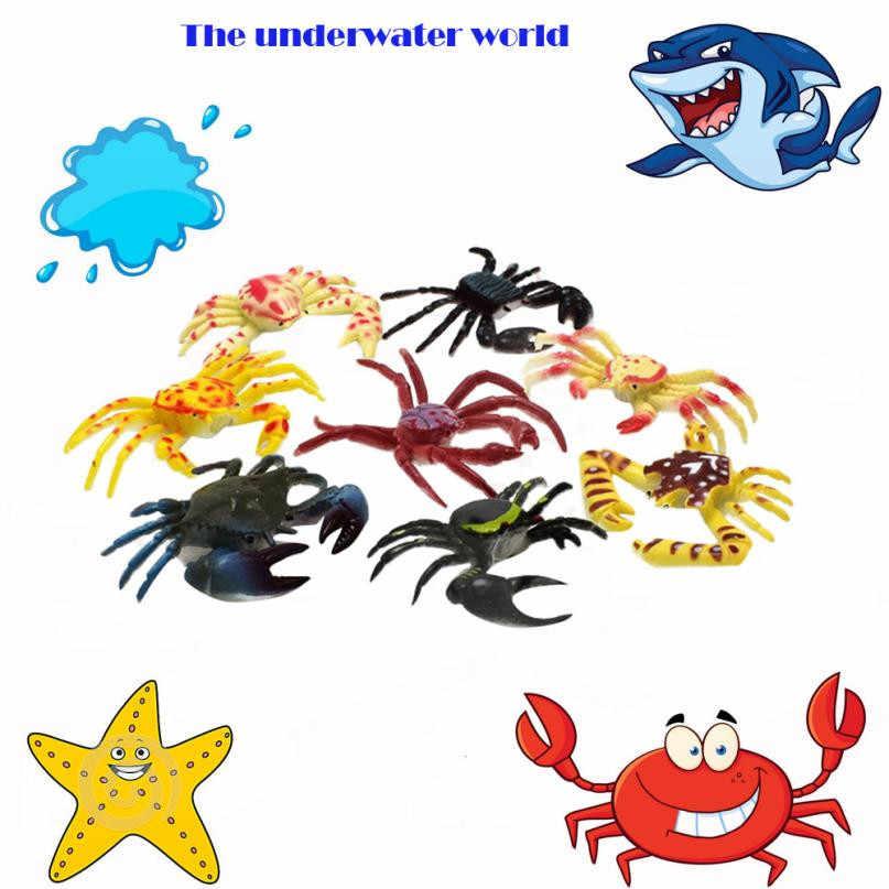 8 Pcs Criativo venda Quente PVC Artificial Caranguejo Inseto Modelo Animal Brinquedos Engraçados brinquedos para crianças anti stress