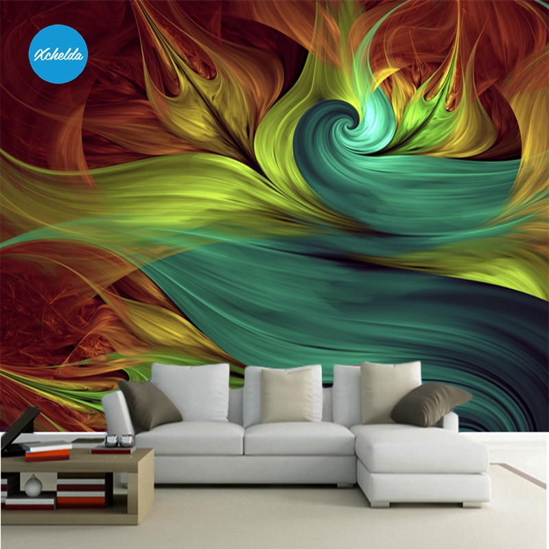 XCHELDA 3D Mural Wallpapers Custom Painting Colorful Abstract Design Background Bedroom Living Room Wall Murals Papel De Parede xchelda custom 3d wallpaper design buds and butterflies photo kitchen bedroom living room wall murals papel de parede
