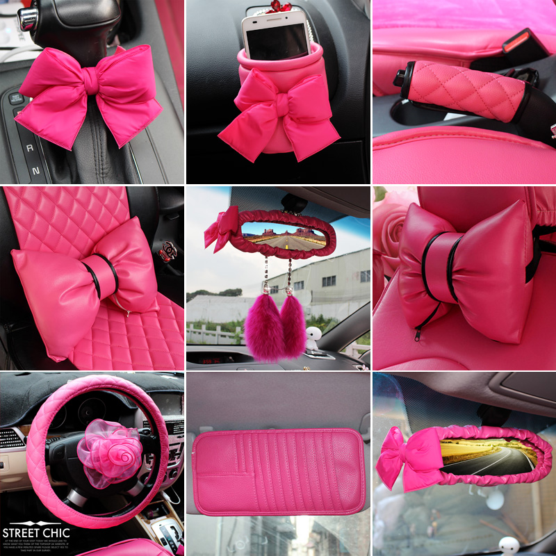Women Car Interior Accessories Pink Roseo Red Steering Wheel Cover Neck Rest Pillow Seatbelt Cover Shifter