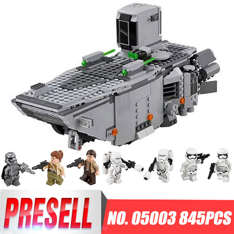 New Lepin 05003 845 Pcs Star Set Wars First Order Transporter assembled building block Bricks Compatible With Legoing 75103 dark journey star wars the new jedi order