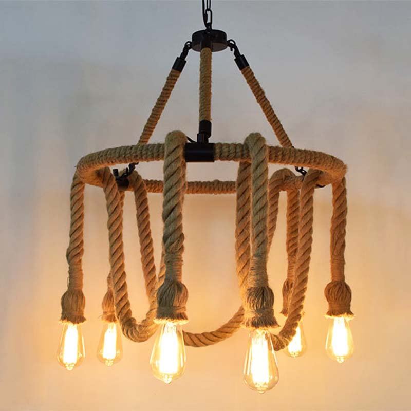 Pendant light Black Cycels Iron & Hemp Rope lighting E27 bulb 6 lamps Vintage American Industry Design for Bar Dining room american style hemp rope pendant light personalized bar table lamps nostalgic vintage clothes lighting