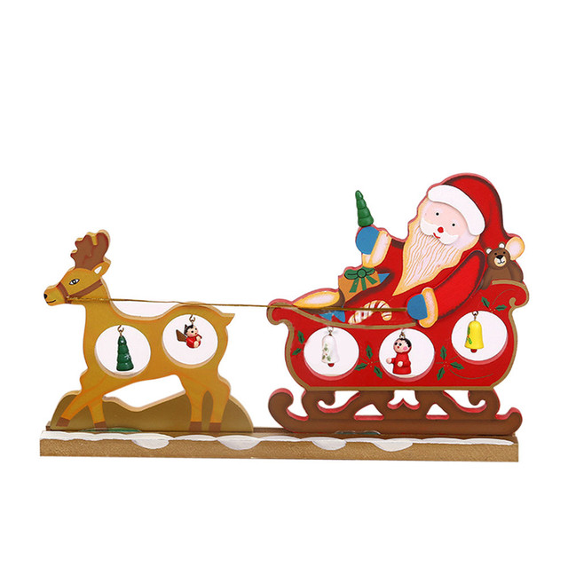 Christmas Elk Sledding Santa Claus Wooden Ornament Holiday Hollow ...