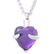 Purple Crystal Heart Urn Necklace