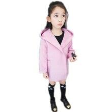 2016 новый детские зимние пальто средней длины с капюшоном пальто для девушки шерстяные девочка пальто однобортный малыша девушка пальто 2-7 Т