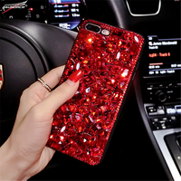 For Xiaomi 4S 5 5X 6 Cute Luxury Classic Red Diamond Rhinestone Soft TPU Case Cover