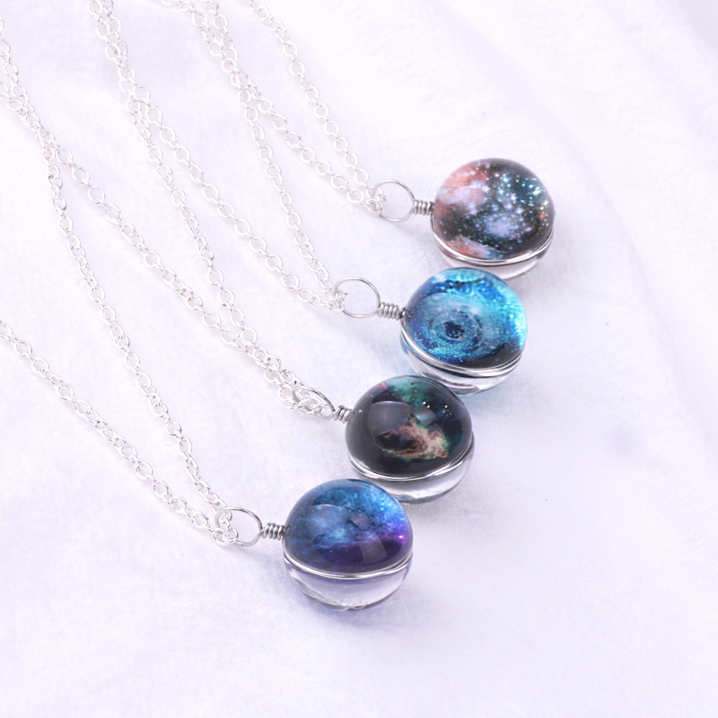 Luyun 2019 New Fashion Art Starry Sky Double sided Crystal Glass Pendant Necklace Handmade Choker Can Be Customized in Chain Necklaces from Jewelry Accessories