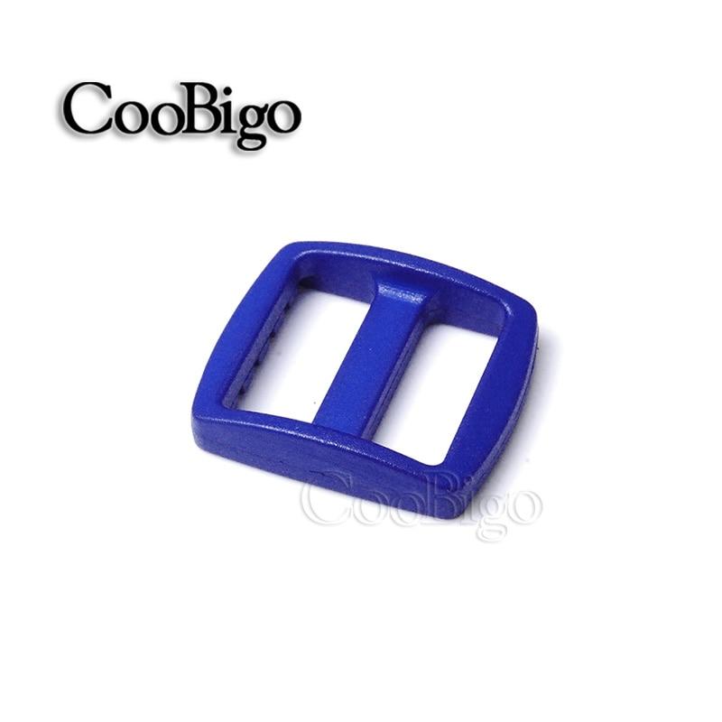 """10 шт Упаковка многоцветные пластиковые изогнутые Tri Glide 3/""""(20 мм) слайдер лямки регулировать пряжки широкий стиль походный рюкзак ремни - Цвет: Blue"""