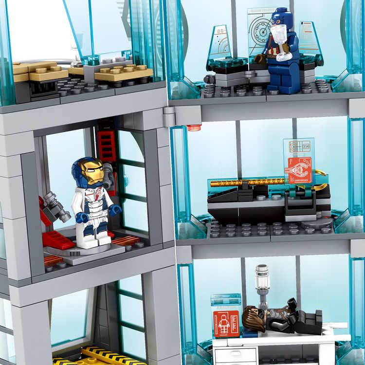 Nova Versão Atualizada Vingadores Super-heróis ironman marvel Avenger Torre fit Legoinglys presente Bloco de Construção Tijolos Crianças Brinquedos Presentes