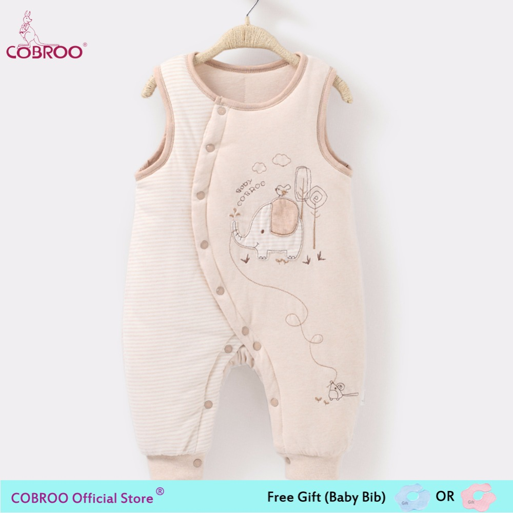 COBROO Newborn Baby Romper 2018 Winter 100% Cotton 0 6 Month Baby Clothes Sleeveless Jumpsuit Hooded Kid Outerwear 550004