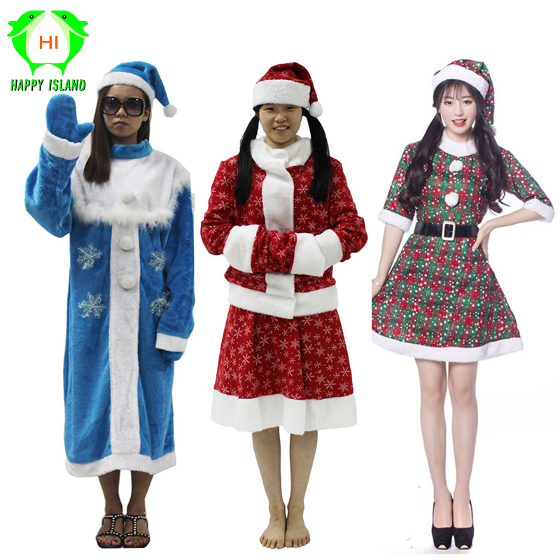 Russia Robe Women Christmas Dress Christmas Costumes Santa Claus Costume Girls Cosplay Costume for New Year Party Suits