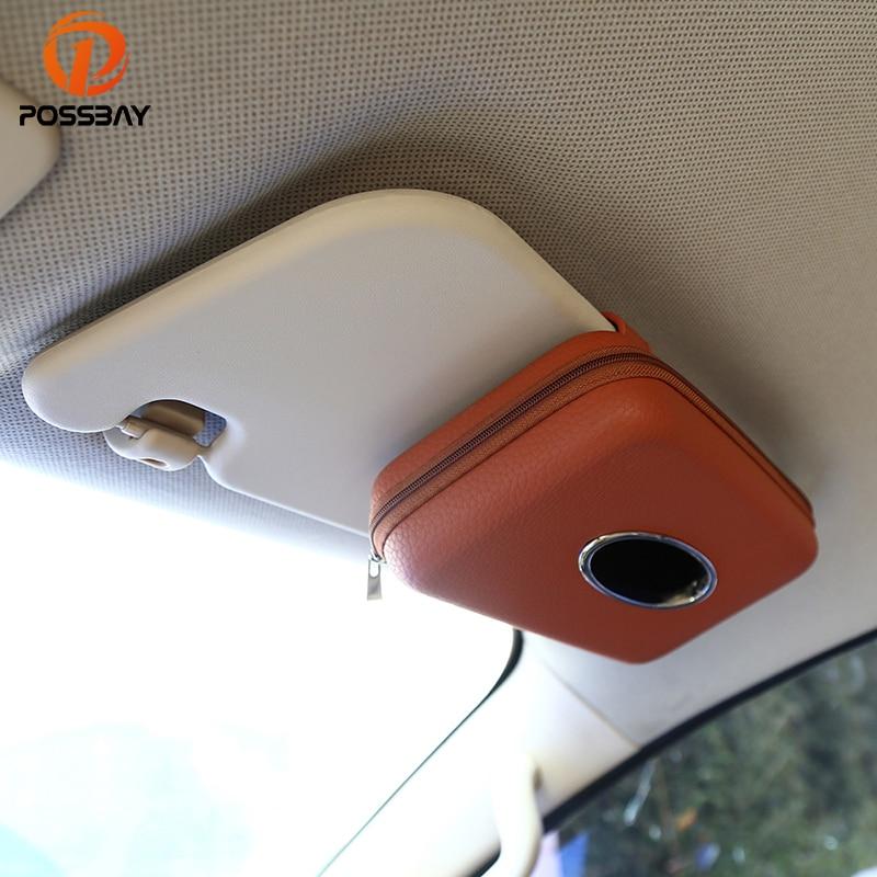 POSSBAY coche servilleta titular colgante tejido caja Auto parasol cajas de almacenamiento de microfibra de cuero visera de sol tejido de los titulares de papel
