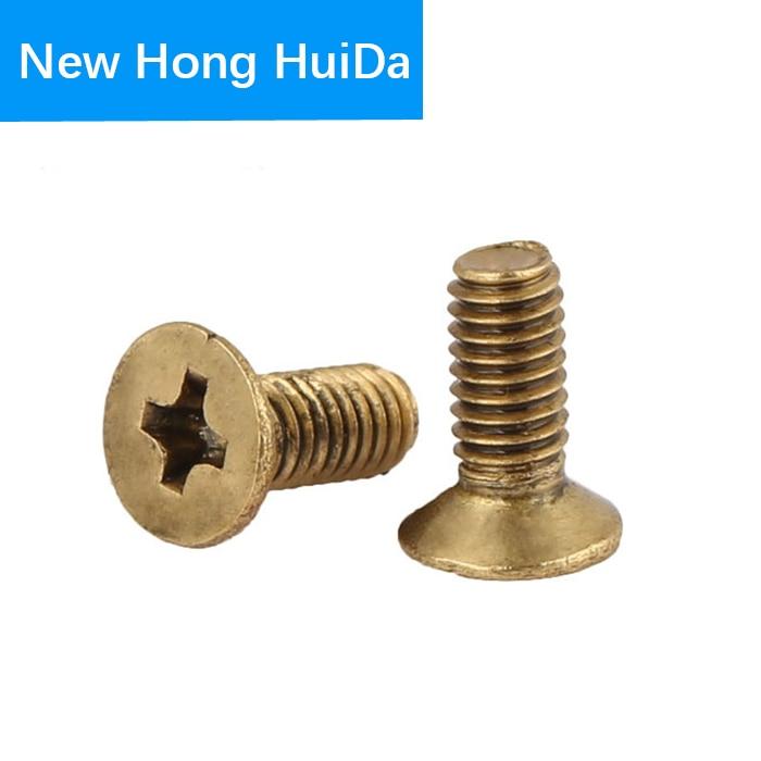 Phillips Brass Flat Head Machine Screw Metric Thread Cross Recessed Countersunk Metal Bolt Standard Hardware Fastener M5 M6 in Screws from Home Improvement