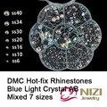 DMC Strass Hotfix Misturado 7 Tamanhos Forma Flatback Rodada Strass De Vidro Moda Ferro em Strass Novo Cristal Pedra Para DIY