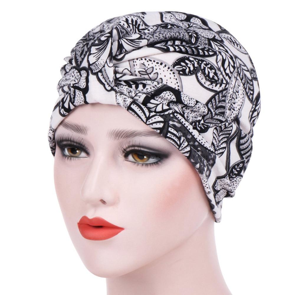 Women India Hat Muslim Cancer Scarf Turban Head Wrap Cap Summer Printing Chemo Hat   Beanie   Islam Stretch Turban Head 4.11