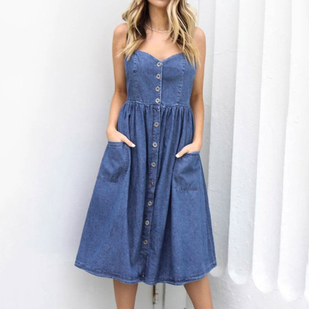 S-XL-Women-Holiday-Strappy-Button-with-Pockets-Denim-Dress-Summer-Beach-Midi-Swing-Dress-Sexy (1)