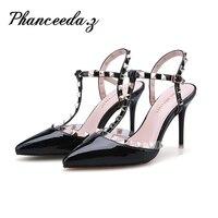 New 2017 High Quality Women Pumps Rivet Sexy Basic Pointy Toe Stilettos High Heels Wedding Shoes