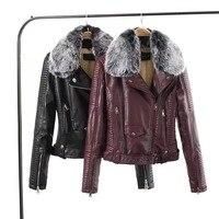 Mode frauen s pelzkragen grundlegende jacke mantel oberbekleidung mäntel Streetwear schwarz faux ledermantel jacke weibliche