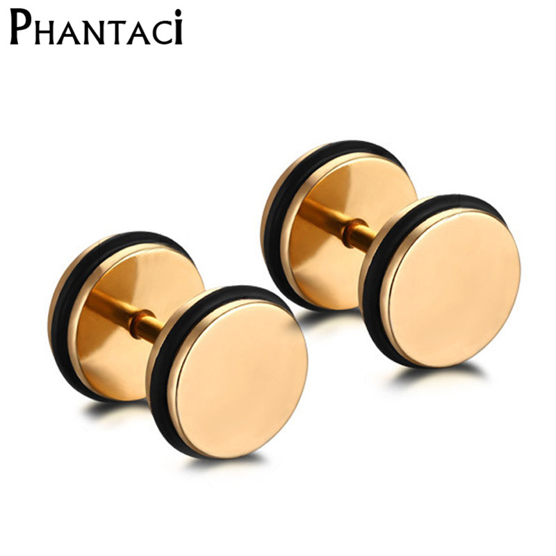 316L Stainless Steel Double Sided Round Bolt Stud Earring Men Women Geometric Gothic Barbell Gold Rock Punk Earrings Female Male