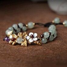 Браслеты из натурального нефрита, браслет для женщин, ручная плетеная винтажная панк, Вдохновляющие цветы, браслеты с гранатом