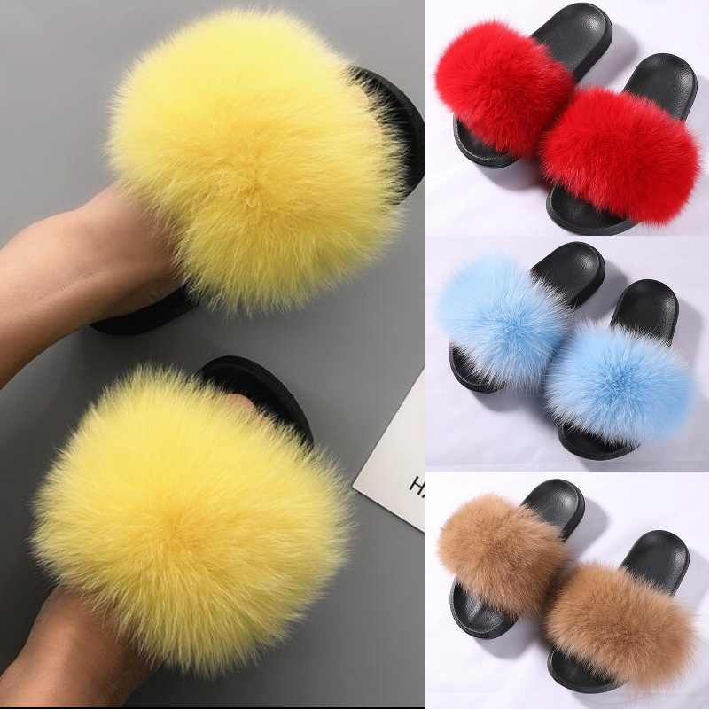 3c69a342622ed Detail Feedback Questions about ZDFURS 2019 Fashion Fox Fur Slippers ...