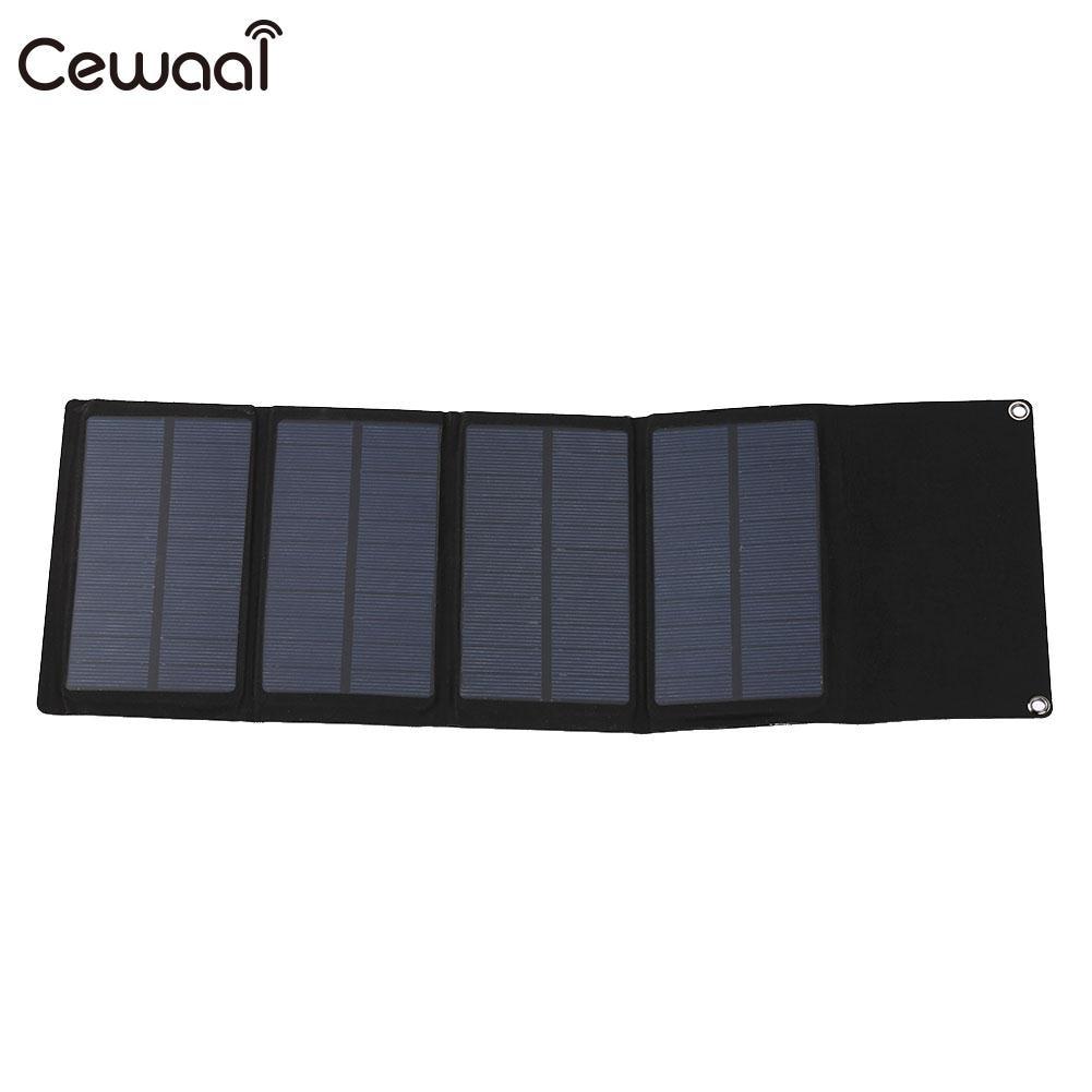 Cewaal USB Solar Panel Waterproof 7W 5V Polysilicon High Efficiency Travel Portable Solar Generator