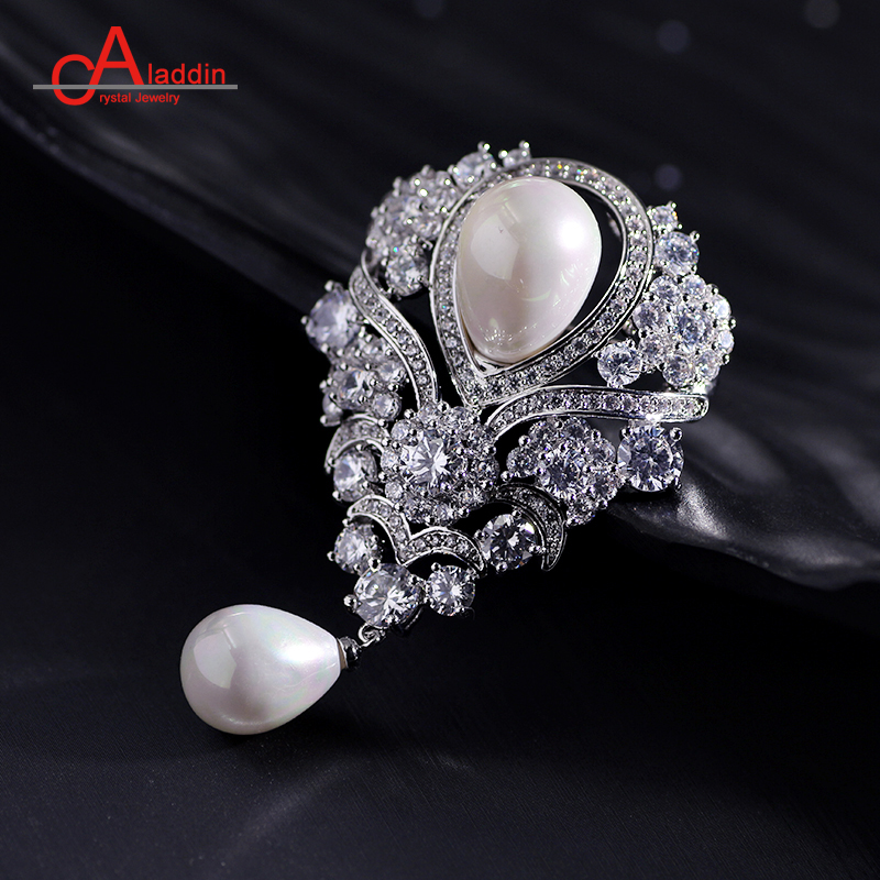 Perfect Aladdin Luxurious Cubic Zirconia Brooches Metal Alloy Trendy Plant Pearl  Brooch Big Pins Silver Plated Hyperbole Ethnic Gift In Brooches From Jewelry  ...
